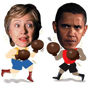 هيلاري كلينتون در برابر باراكاوباما